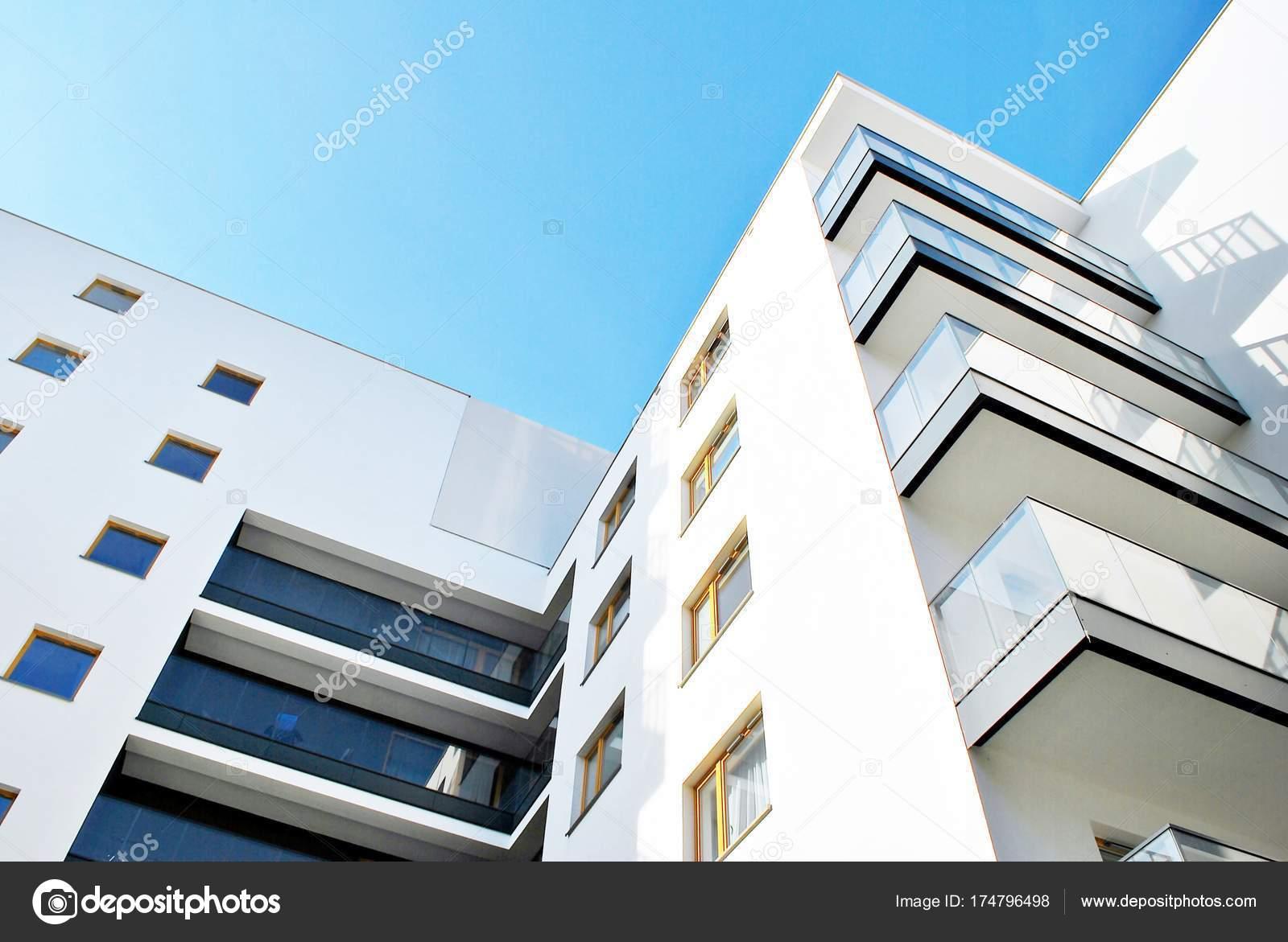 Modern Apartment Buildings Sunny Day Blue Sky Facade Modern Apartment U2014  Stock Photo