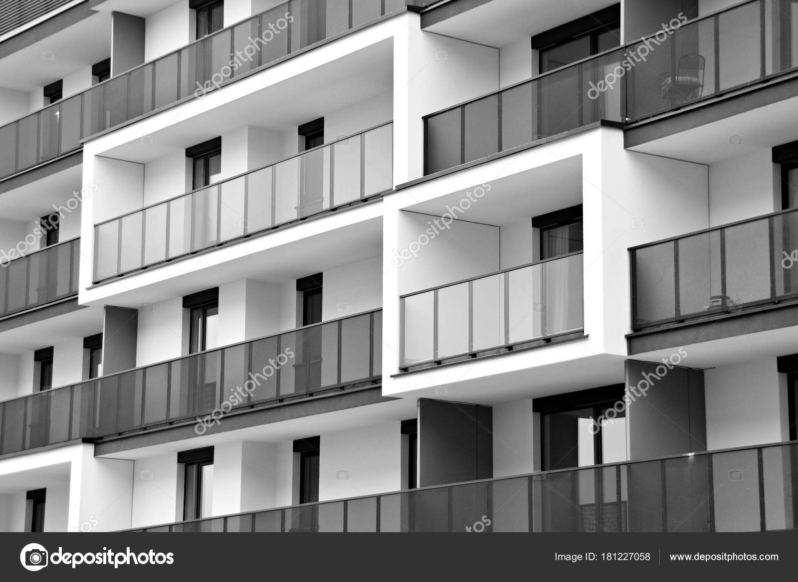 Superior Modern Apartment Buildings Facade Modern Apartment Building Black White U2014  Stock Photo