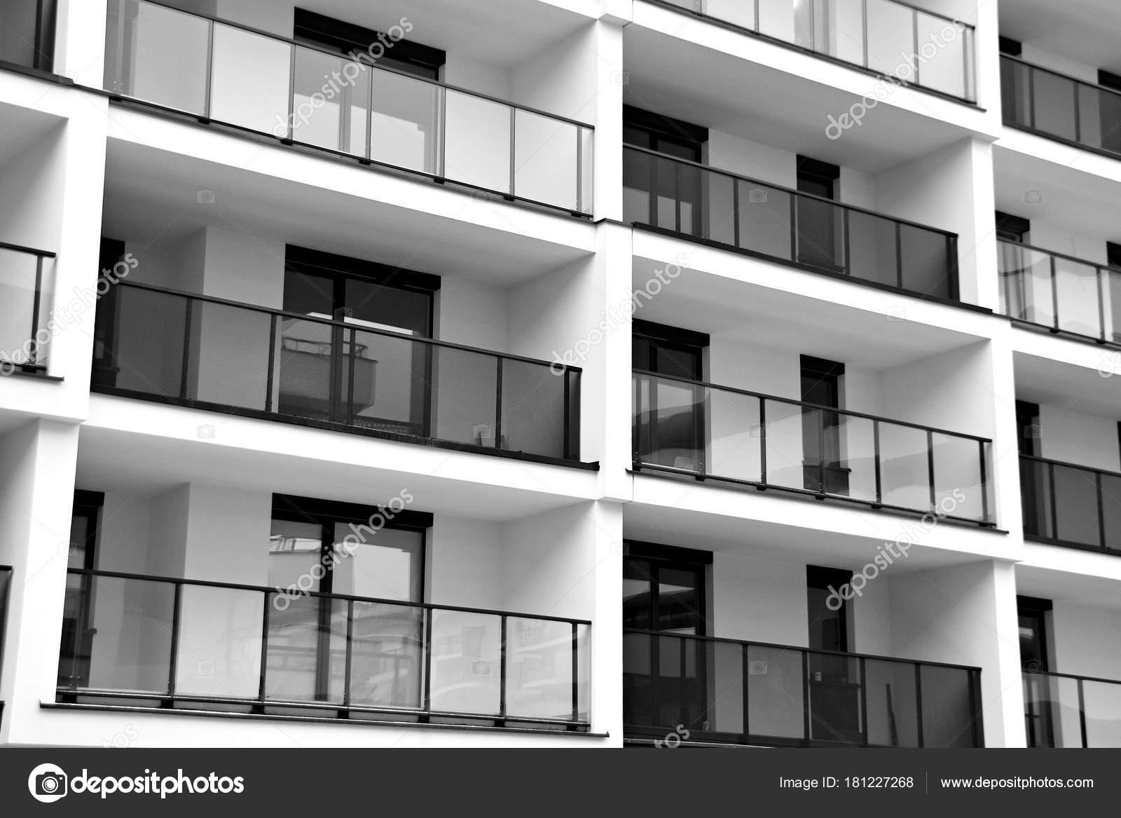 Modern Apartment Buildings Facade Modern Apartment Building Black White U2014  Stock Photo