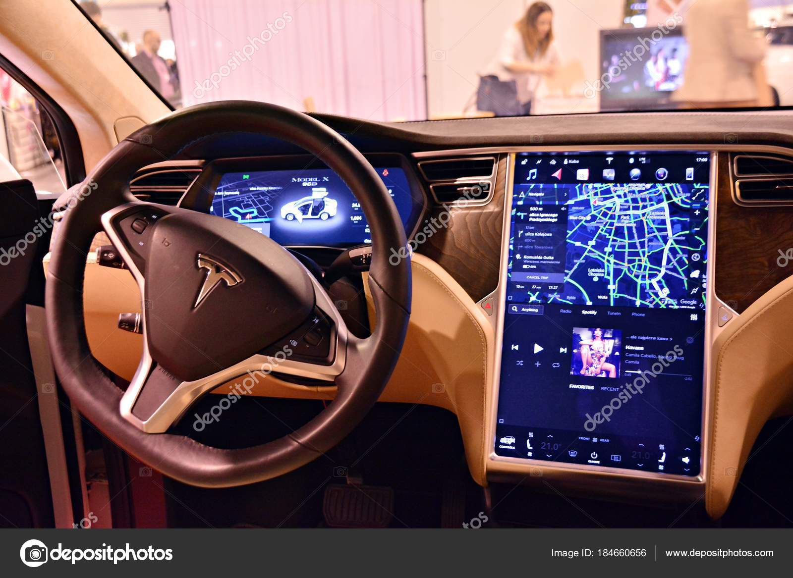 Warsaw Poland February 2018 Interior Tesla Model 90D Car ...