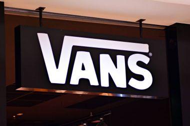 Warsaw,Poland. 16 March 2018. Sign Vans. Company signboard Vans.