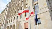 Varšava, Polsko. 15. května2020. Architektonický fragment vchodu do hotelu Warszawa.