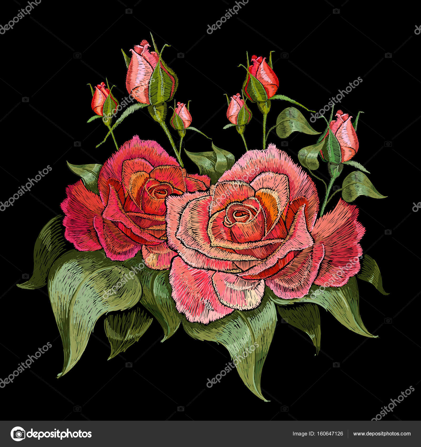 Red roses embroidery. Beautiful buds of red roses — Stock Vector on garden dress forms, country garden designs, garden edging designs, garden home designs, garden wedding designs, garden fabric, garden box designs, garden art designs, garden cake designs, garden motif design, garden surface pattern designs, garden window designs, garden flowers designs, garden needlepoint designs,