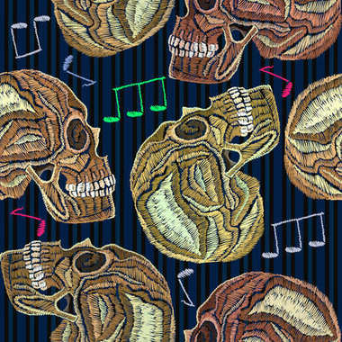 Embroidery human skull and music notes seamless pattern