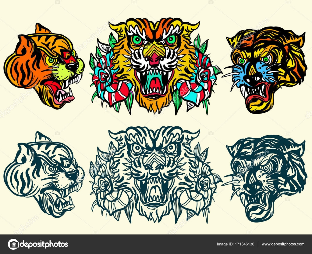bc6fc7813 Tigers old school tattoo vector. Fashionable tigers heads — Stock Vector