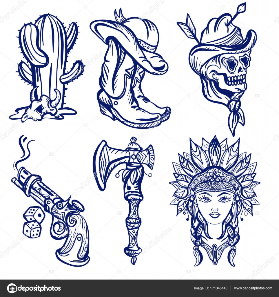 320ceb9ede244 Wild west old school tattoo sketch. Fashionable western set. Cowboy,  cactus, indian woman, guns. Classic flash tattoo style, patches and  stickers vector ...