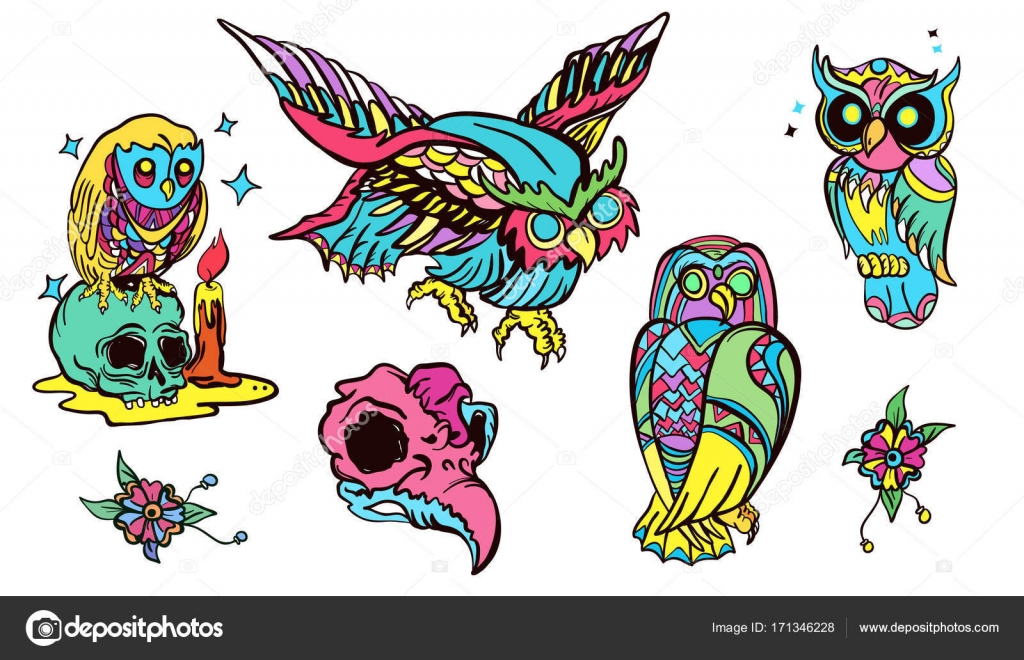 Magic Owl Old School Tattoo Vector Fashionable Owls Set Stock