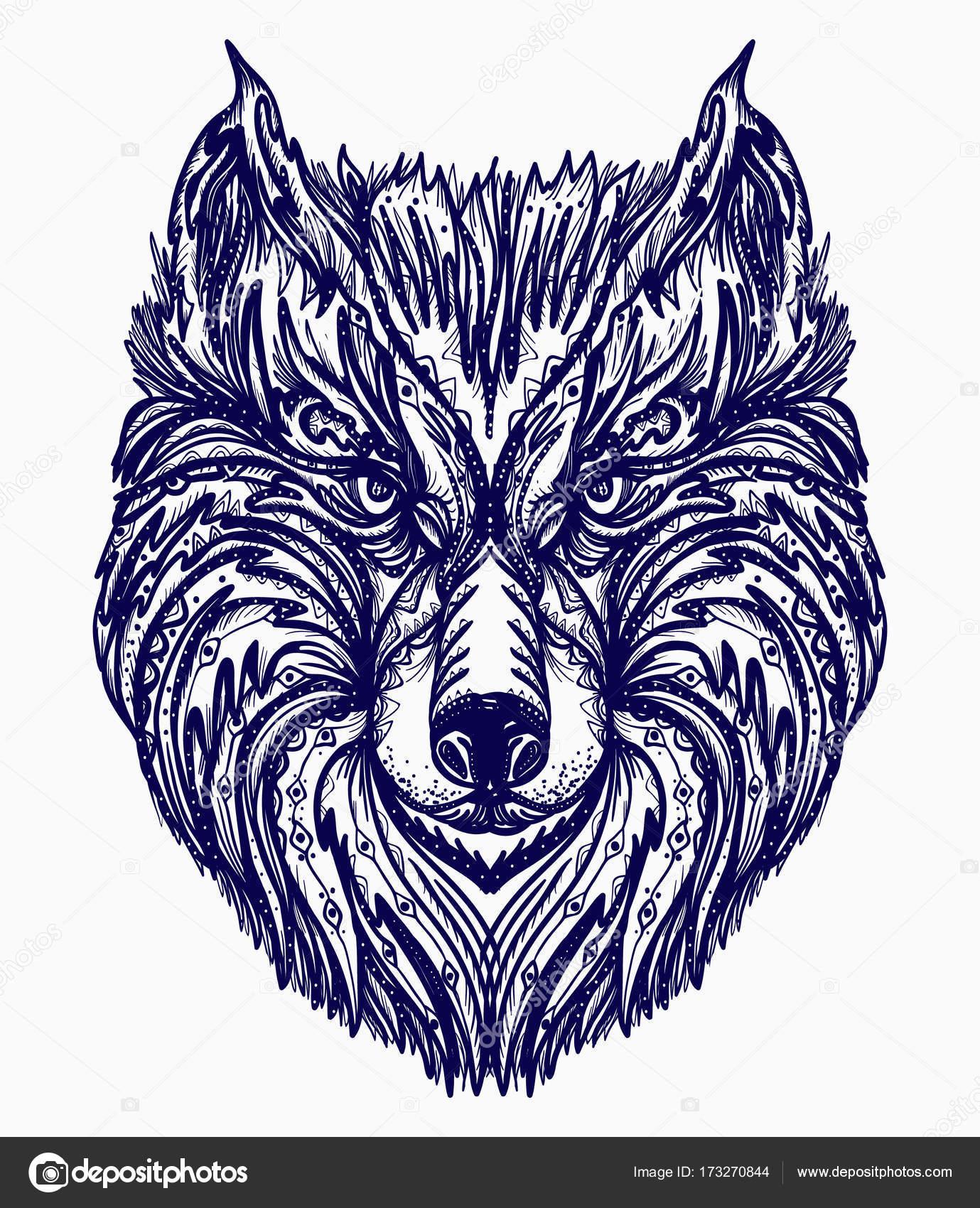 Tatuaż Wilk Native American Stylu T Shirt Głowa Wilka Grafika