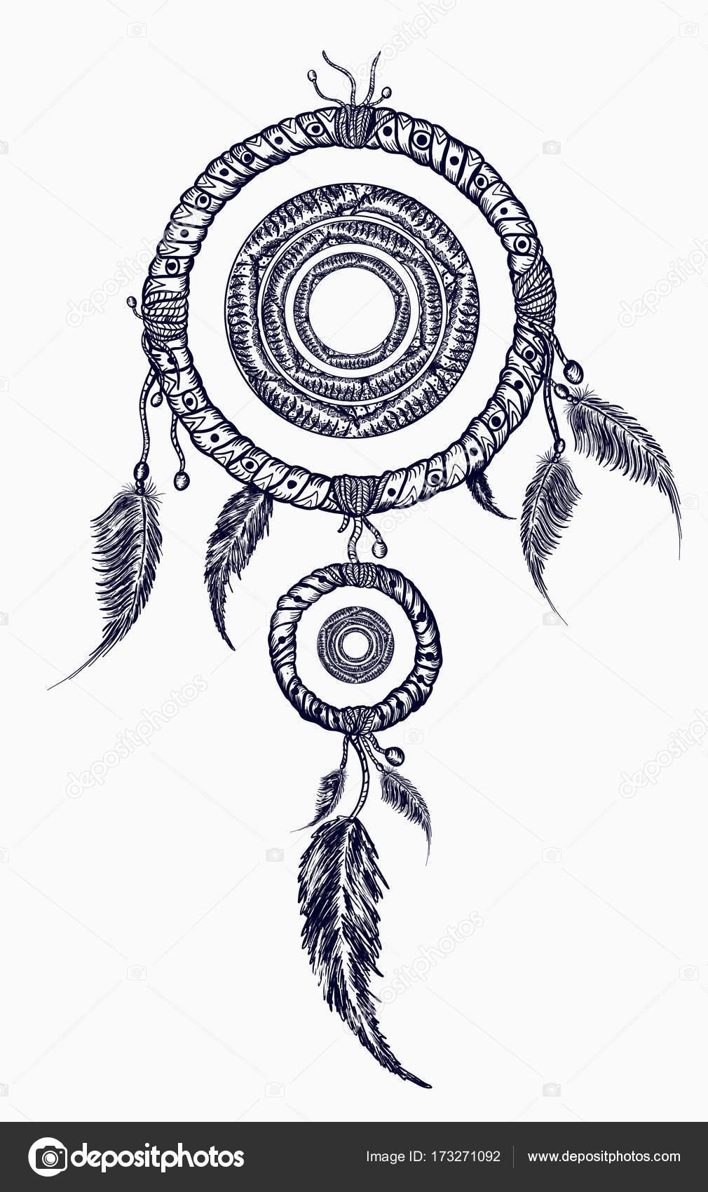 łapacz Snów Z Piór Tatuaż Native American Styl Boho