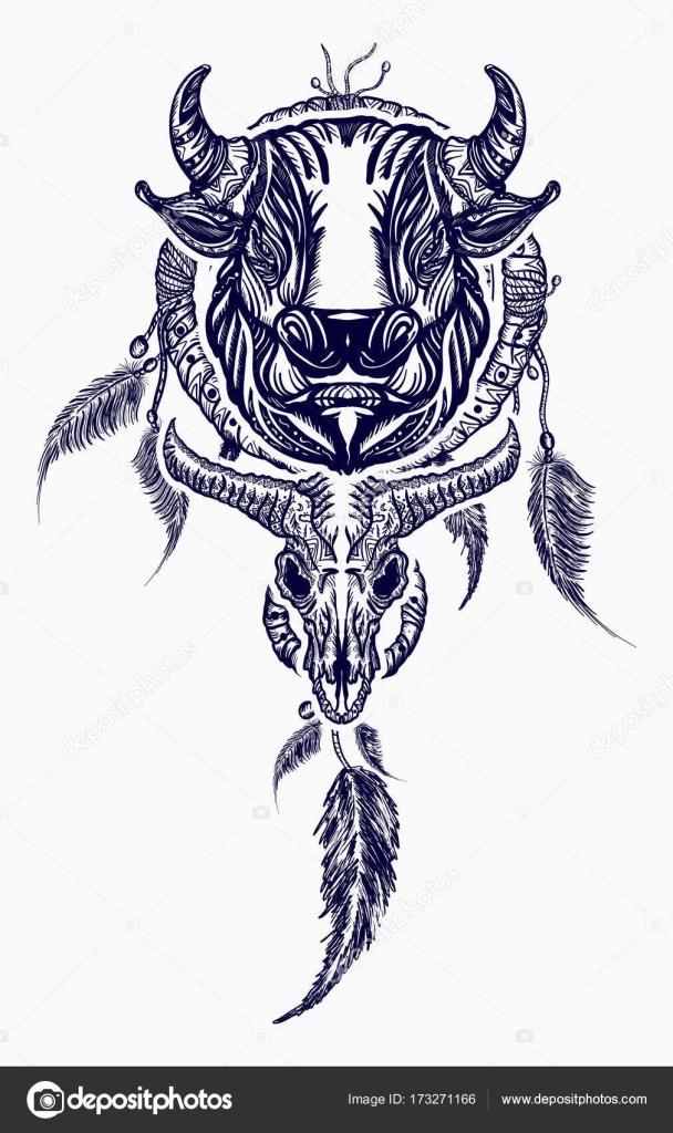 Art De Tatouage Tribal Bull Et Dreamcatcher Capteur De Reves Indien