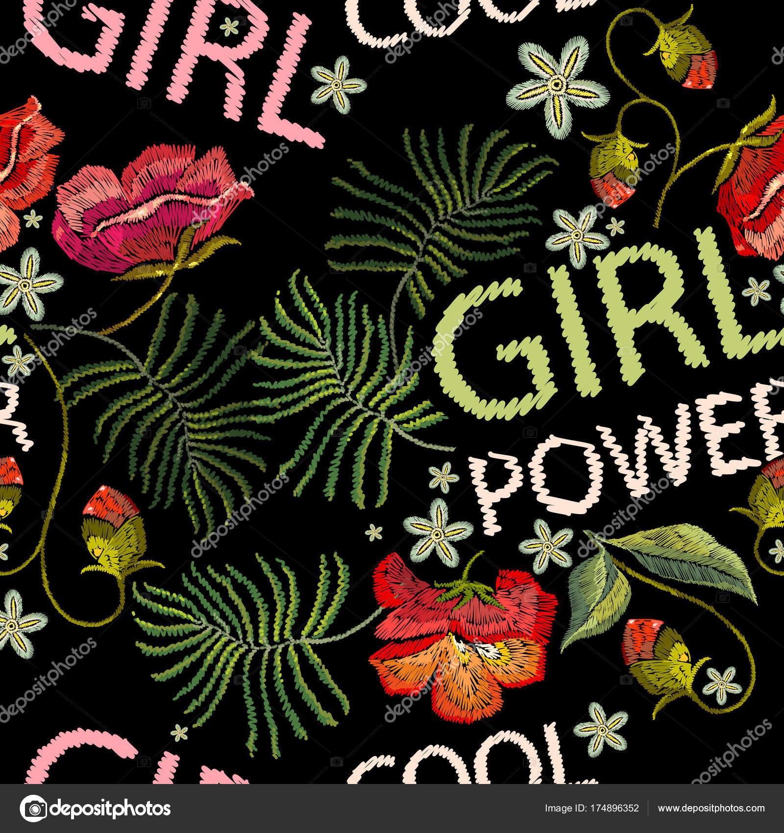Bordado amapolas flores camiseta diseño de patrones sin fisuras ...