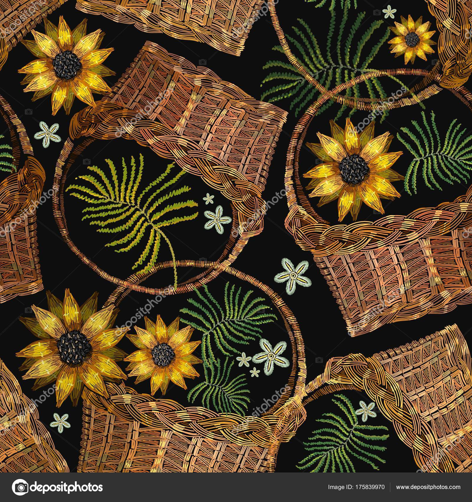 Embroidery wicker baskets and sunflowers. Garden background — Stock ...
