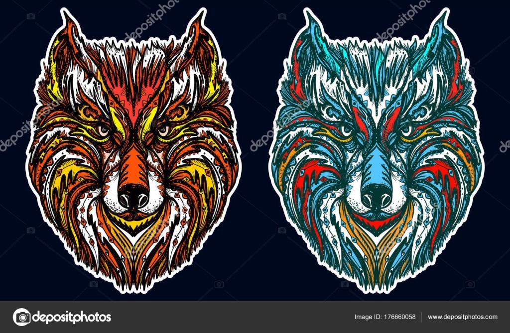 Native American Tribal Wolf Ornamental Wolf Head Tattoo Stock