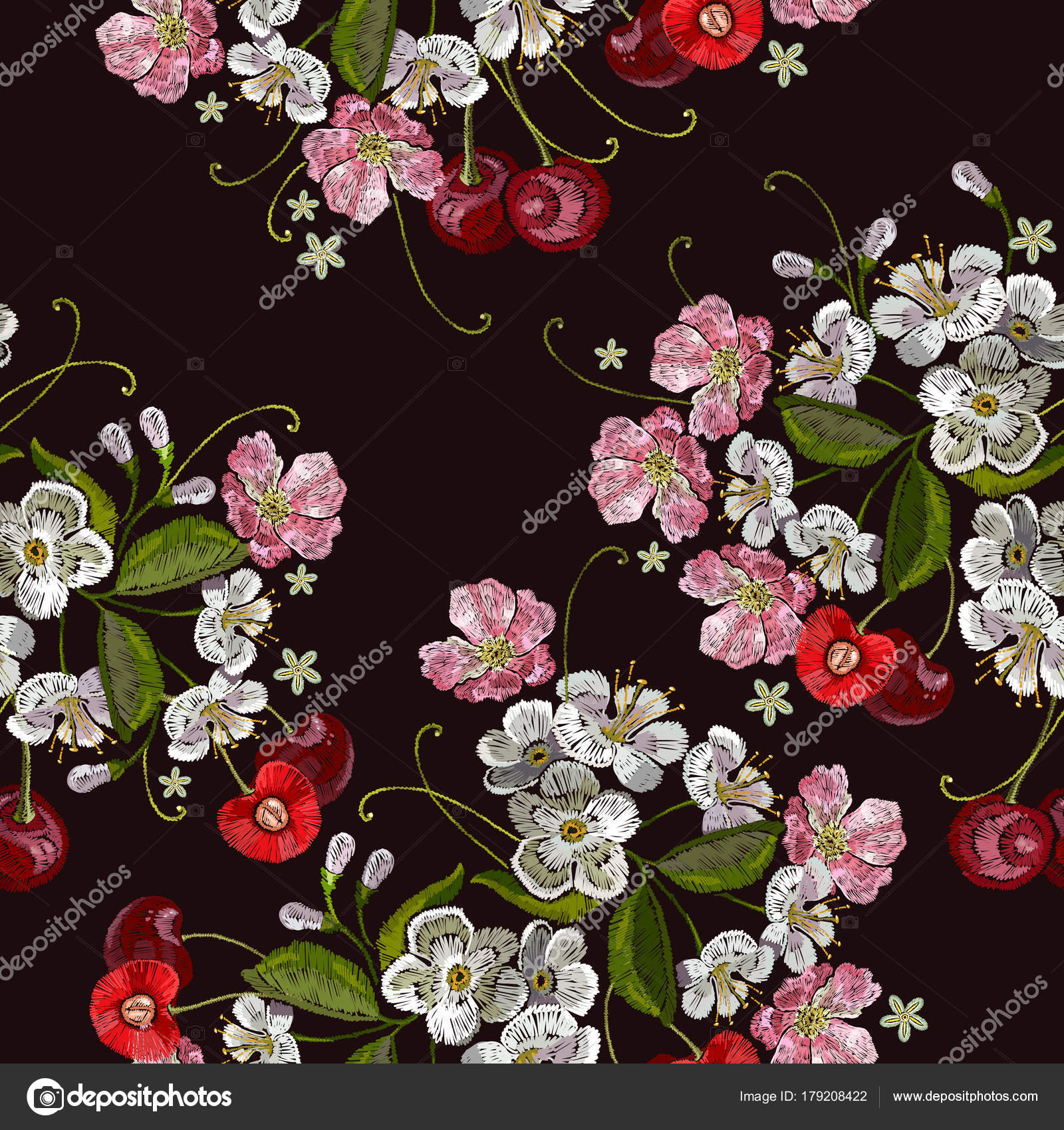 embroidery cherry template for clothes textiles stock vector