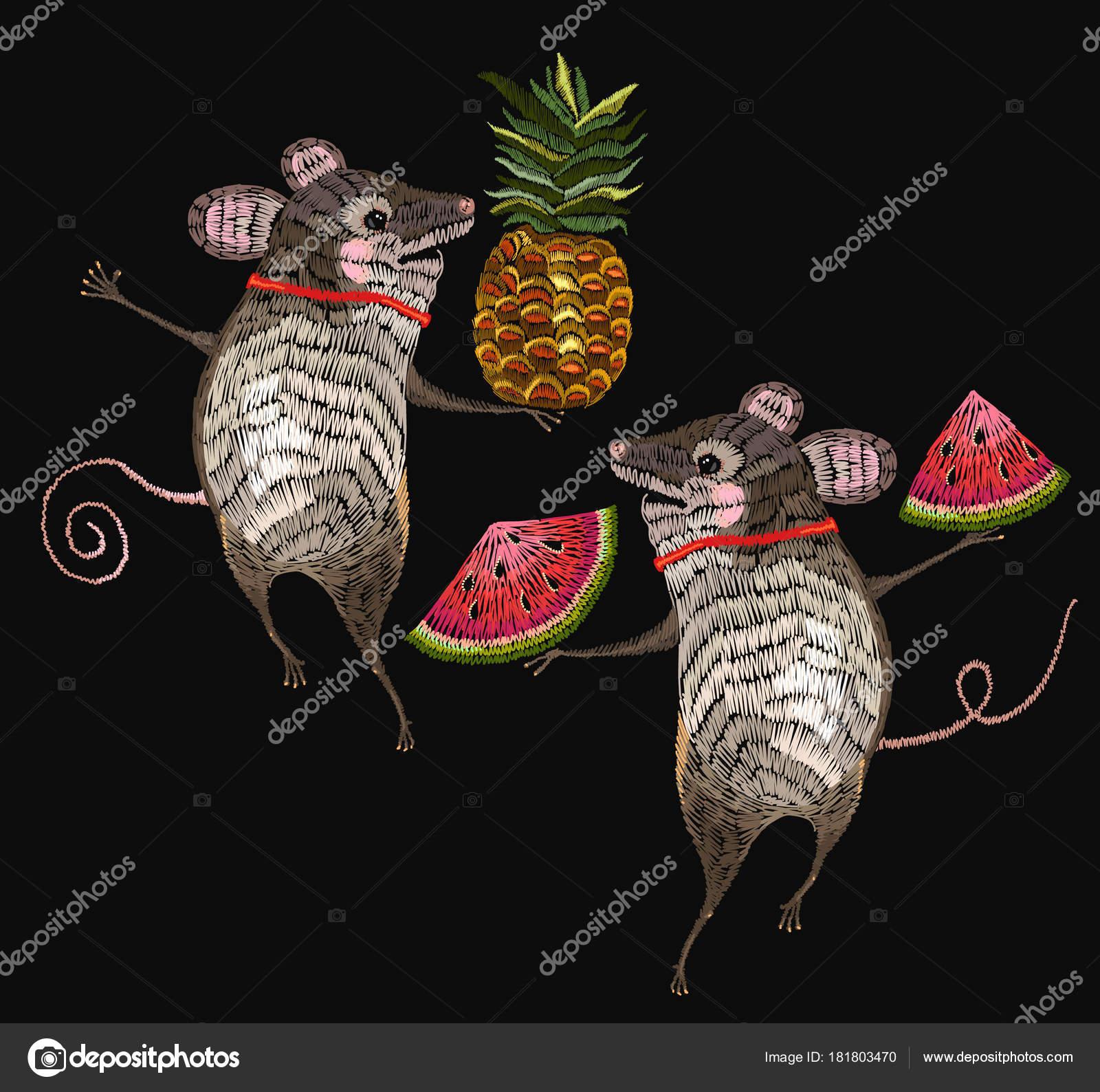 Stickerei-Maus. Zwei fröhliche Mäuse sind in Blumen tanzten ...