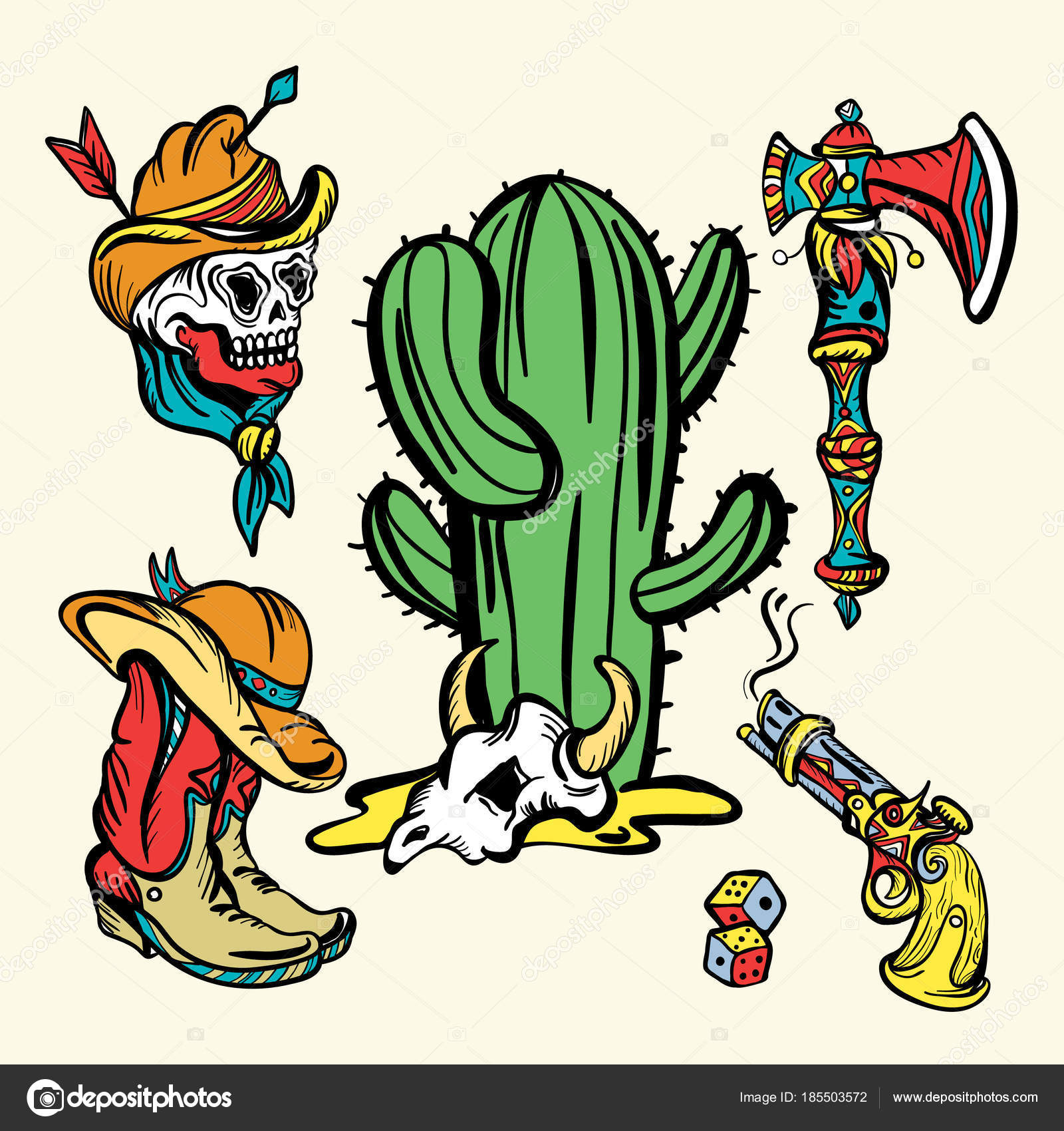 019647cdddcc3 Wild west old school tattoo vector. Fashionable western set. Cowboy,  cactus, guns. Classic flash tattoo style, patches and stickers set — Vector  by nostro