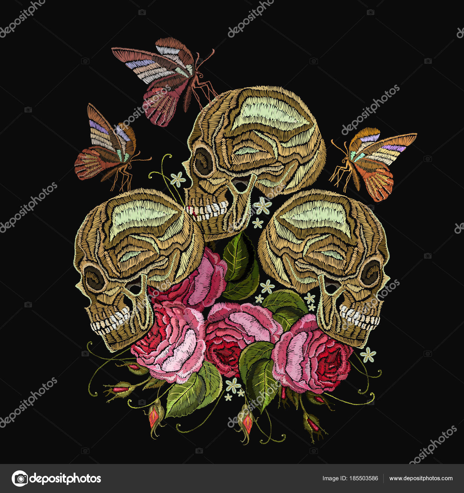 afb7d40c3 Embroidery skulls, roses flowers and butterfly. Gothic romantic — Stock  Vector