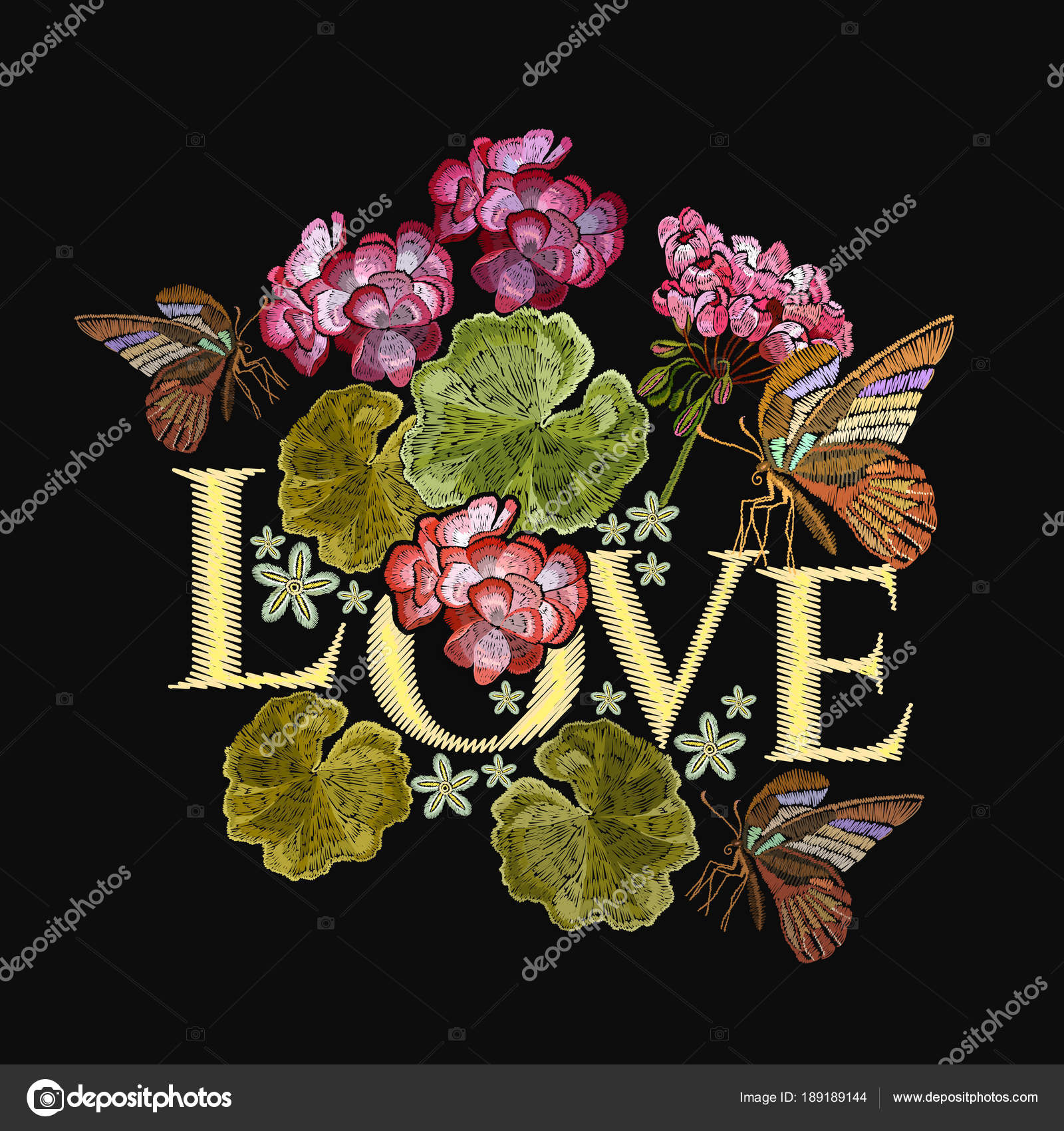 Embroidery Lotus Flowers And Butterfly Love Slogan Stock Vector