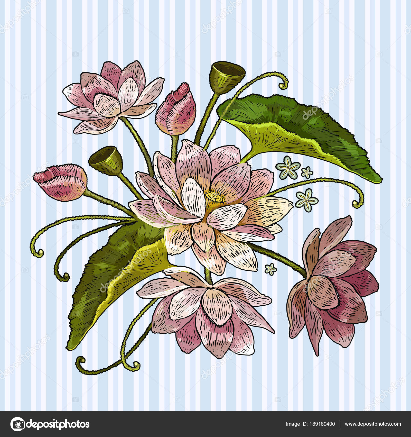 Embroidery lotus flowers clothes template t shirt design stock embroidery lotus flowers clothes template t shirt design classical embroidery pink lotuses water lily vector by nostro izmirmasajfo