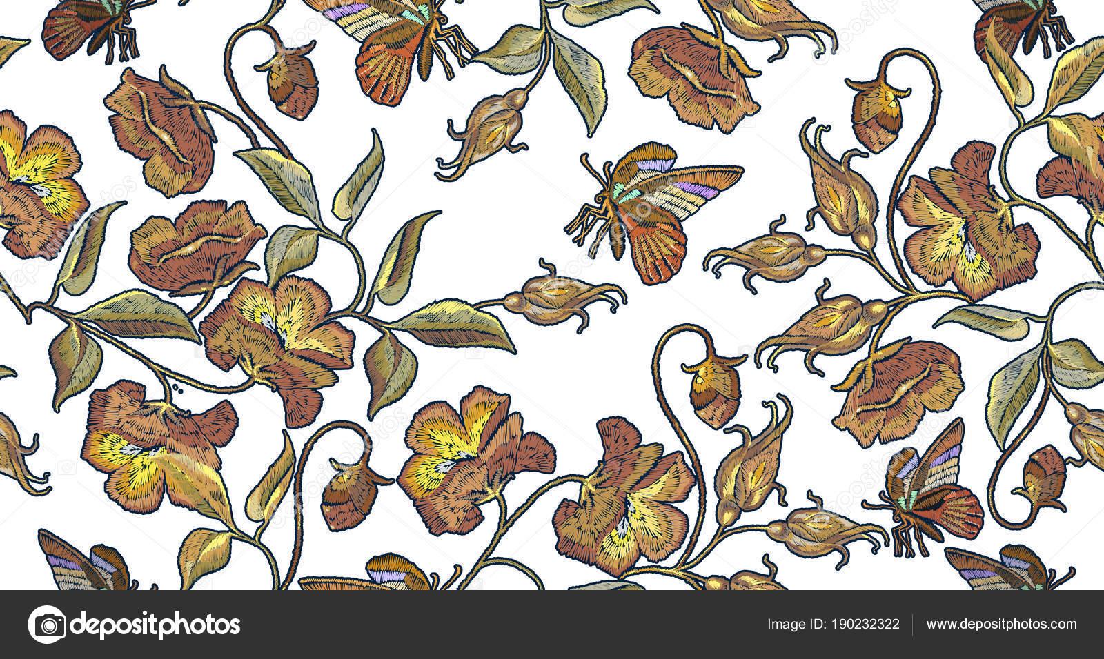 Hermosas amapolas vintage bordado clásico de patrones sin fisuras ...