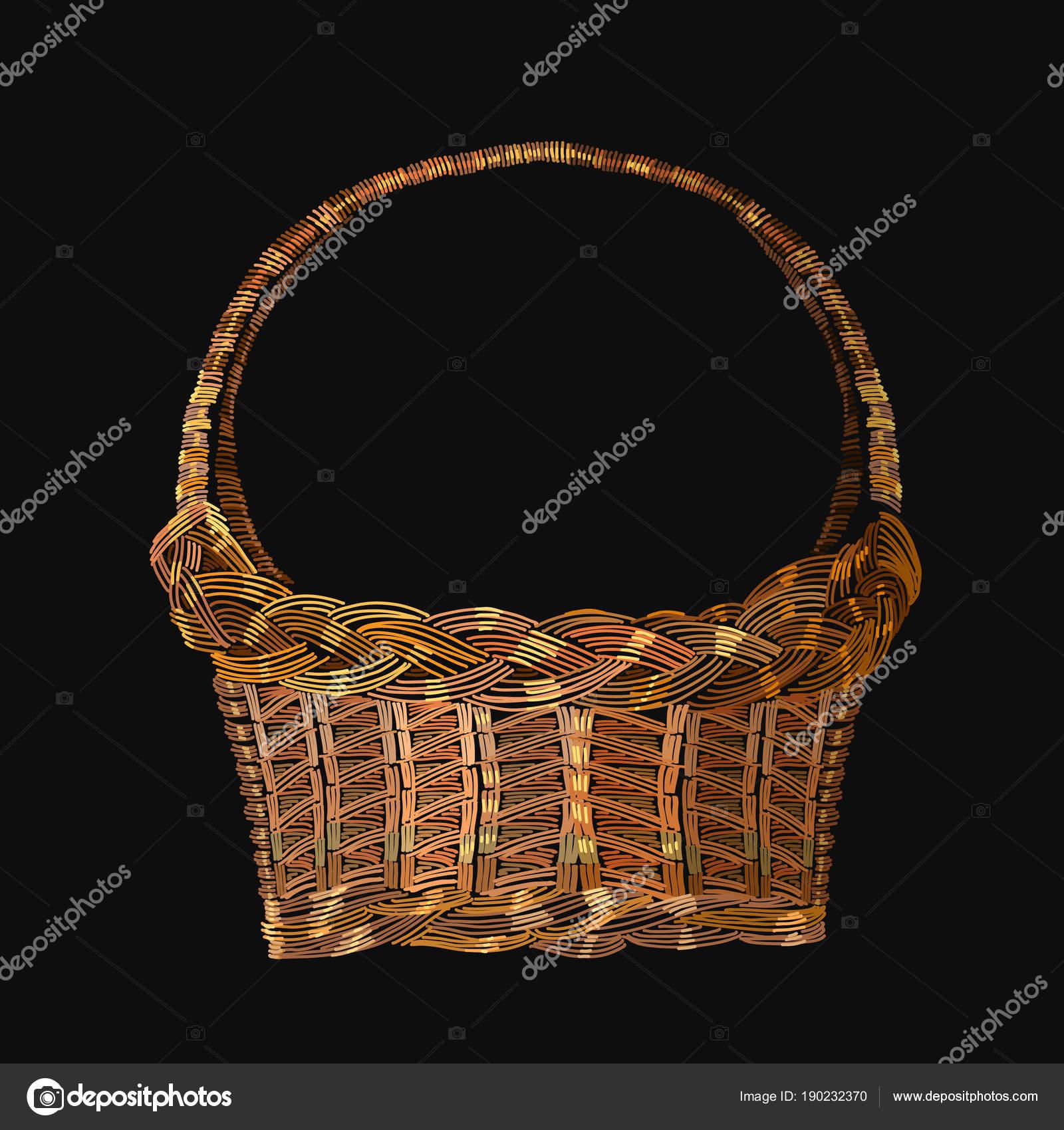 Cesta de mimbre bordado. Plantilla para ropa, textiles — Vector de ...