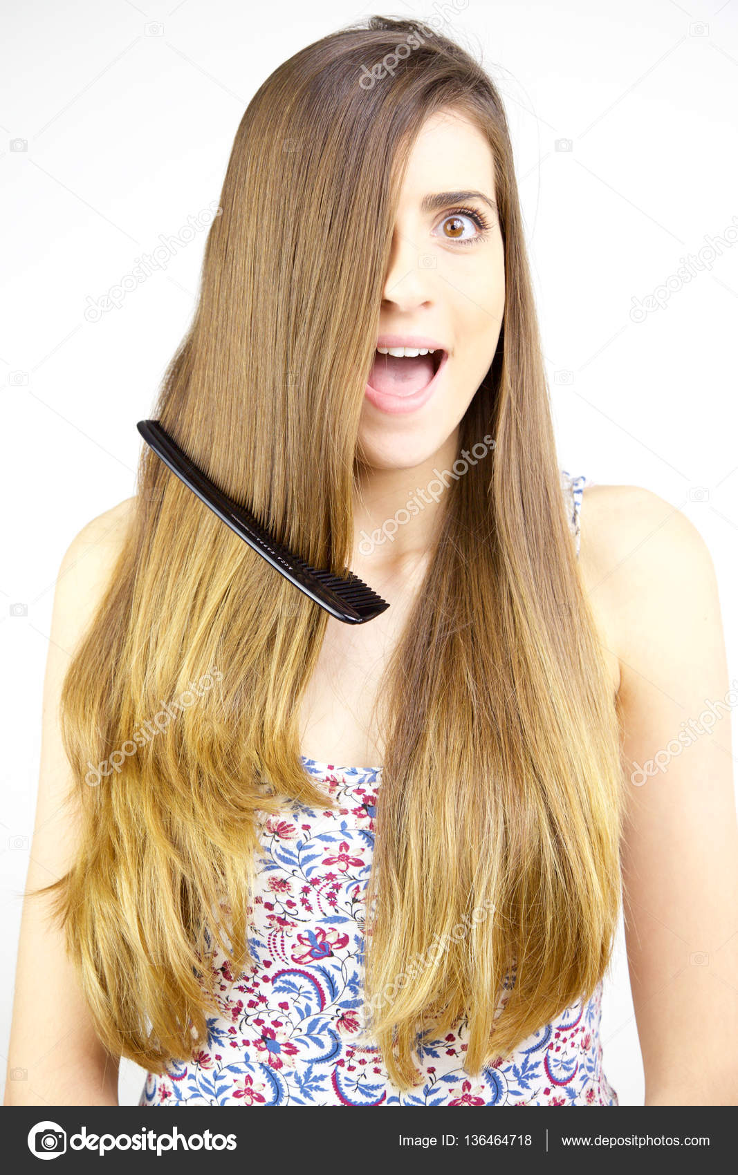 Beautiful Woman With Tangled Hair Surprised Medium Shot Stock Photo C Fedemarsicano 136464718