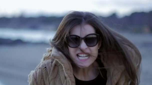 Beautiful woman starting to run fast chasing angry slow motion closeup