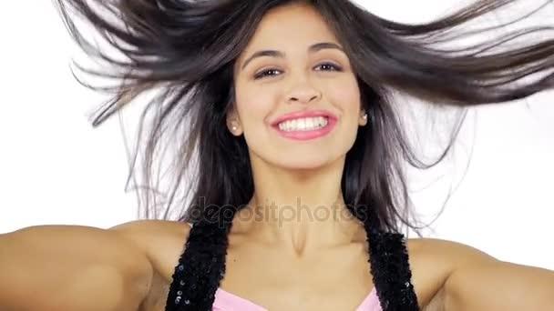 Cute Hispanic Girl Moving Long Silky Hair Smiling Super Slow Motion  Closeupu2013 Stock Footage