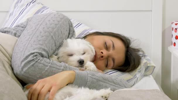 Frau Am Morgen Umarmt Kleine Welpen Hund Im Bett Schläft