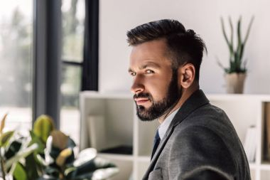 bearded businessman in modern office