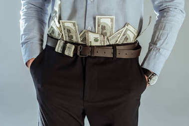 Close-up view of dollar bills in businessman's pants