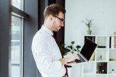 handsome businessman using laptop in modern office