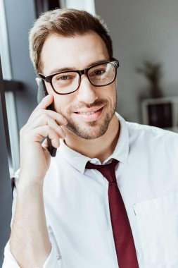 handsome businessman talking on smartphone in office