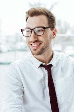portrait of handsome caucasian businessman smiling in eyeglasses