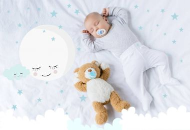 sleeping baby with toy
