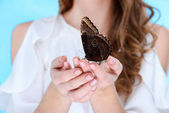 cropped shot of woman holding beautiful butterfly