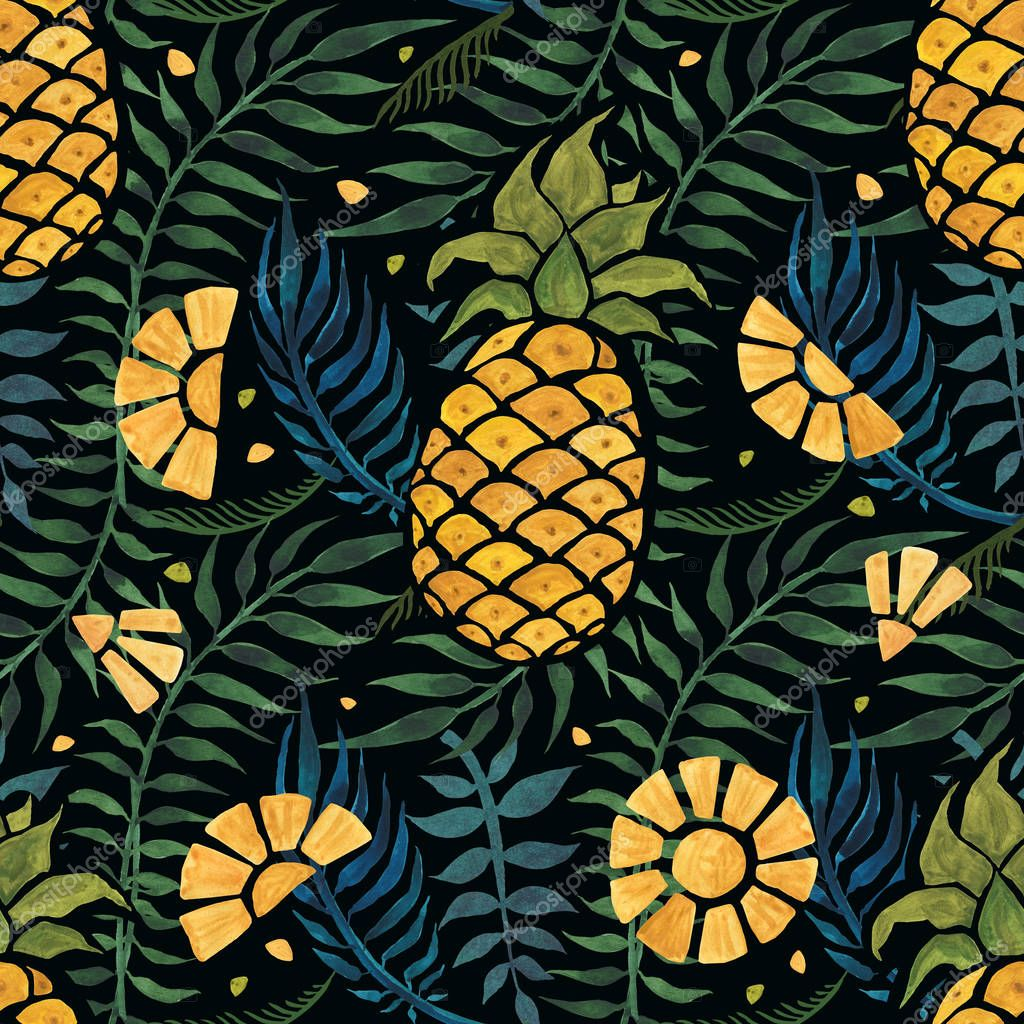 Seamless tropical pattern with pineapples and palm leaves. Hand drawn watercolor illustration.