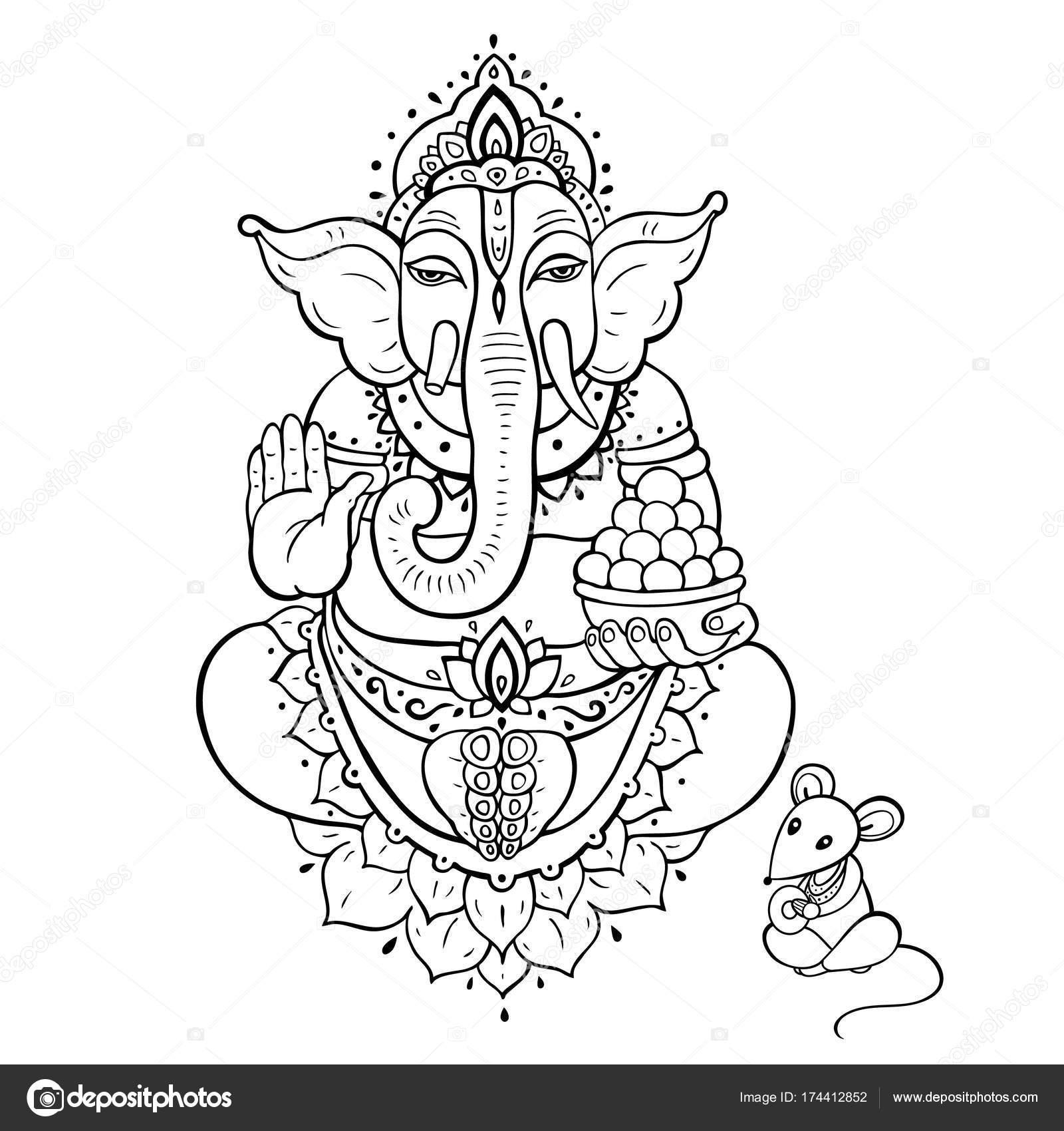 Ganapati. Señor Ganesha — Vector de stock © katyaulitina #174412852