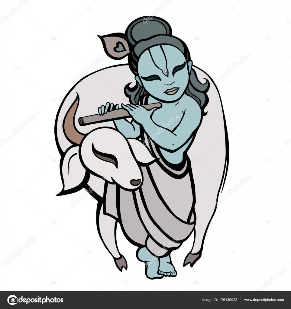 Hindú Dios krishna — Vector de stock © katyaulitina #176130922