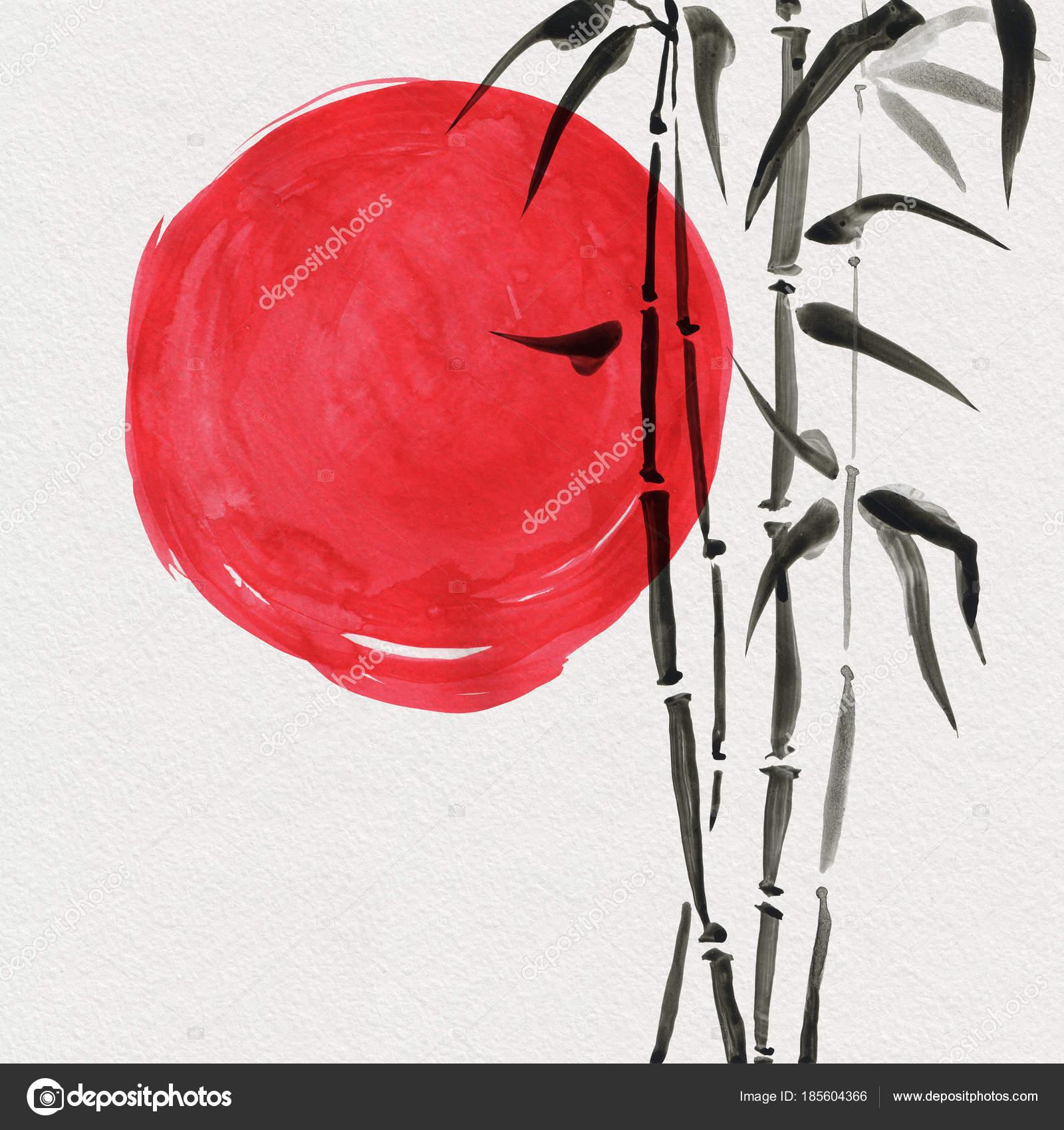 Bambus In Der Japanischen Malerei Sumi E Stil U2014 Stockfoto