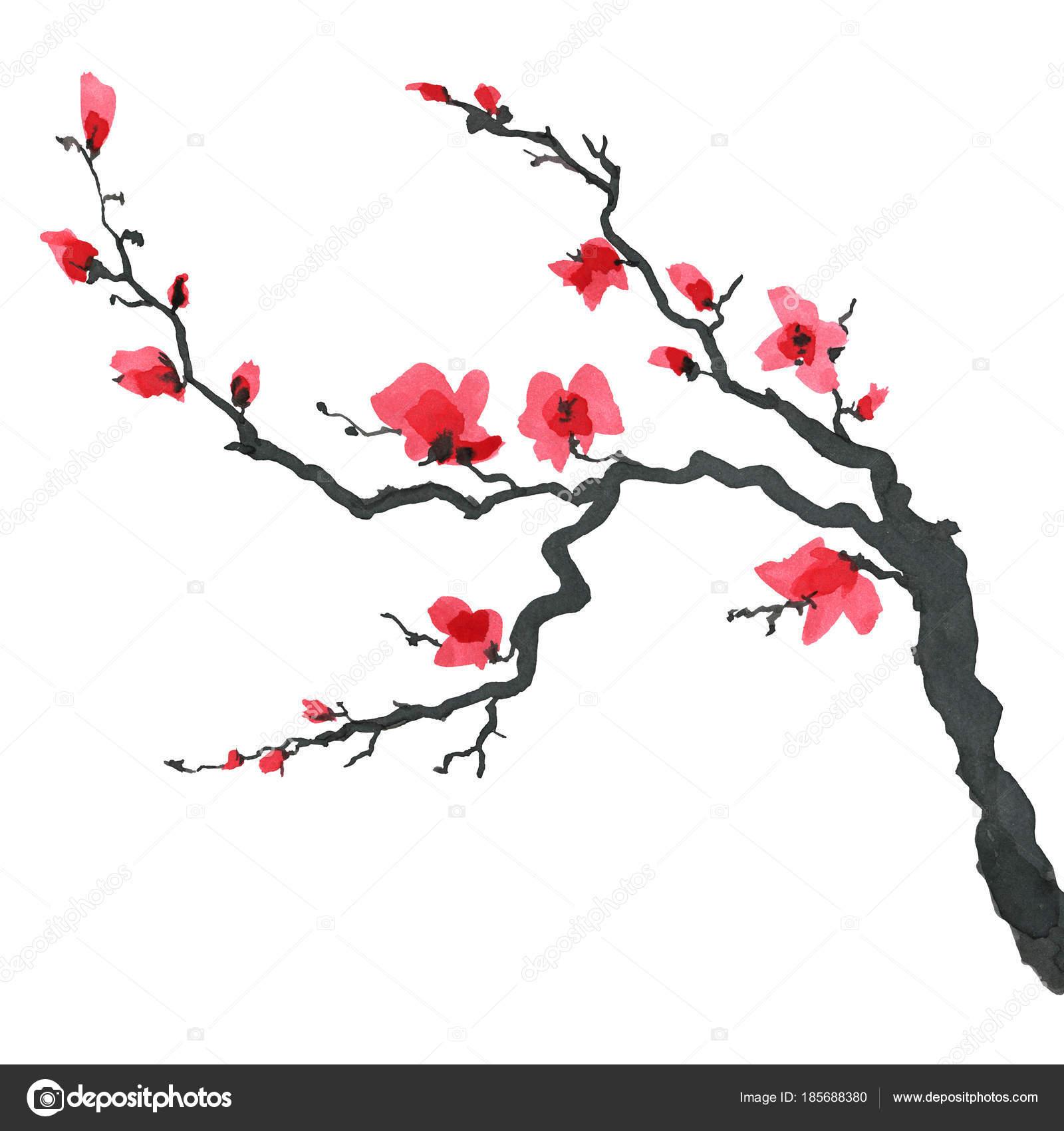 和風桜の木水彩の手絵画イラスト ストック写真 Katyaulitina