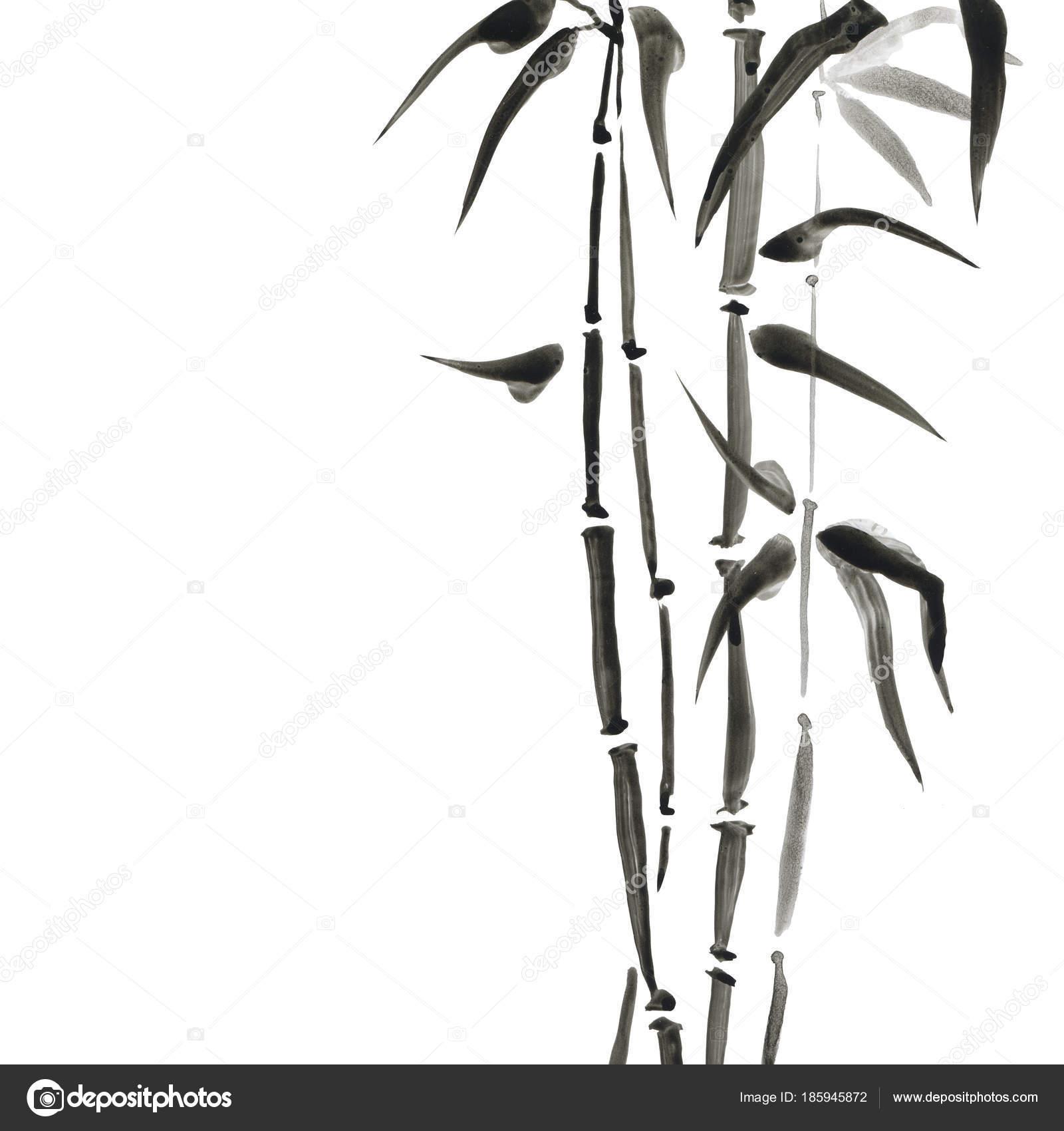 Bambus Im Japanischen Stil. Aquarell Hand Malerei Illustration U2014 Stockfoto