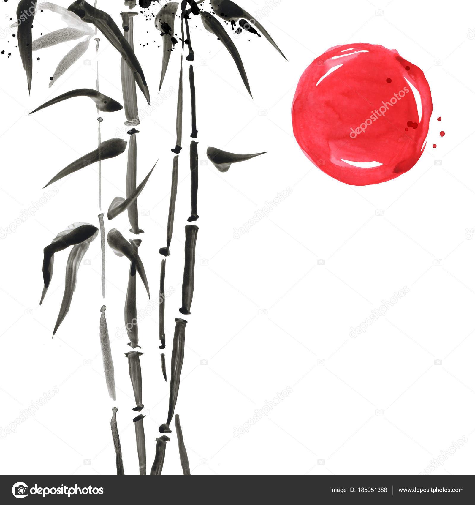 Schon Bambus Im Japanischen Stil. Aquarell Hand Malerei Illustration U2014 Stockfoto