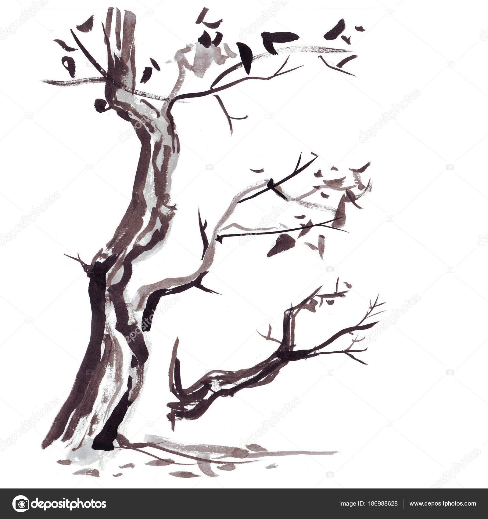 Ağaç Dalı Japon Tarzı Suluboya El Boyama çizim Stok Foto