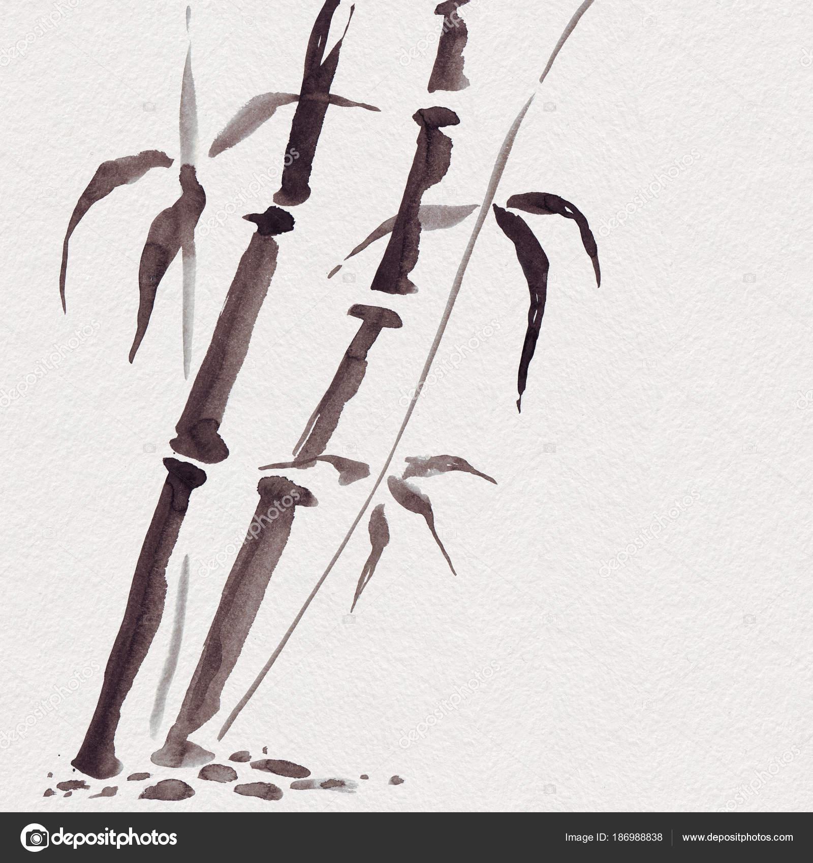 Lieblich Bambus Im Japanischen Stil. Aquarell Hand Malerei Illustration U2014 Stockfoto