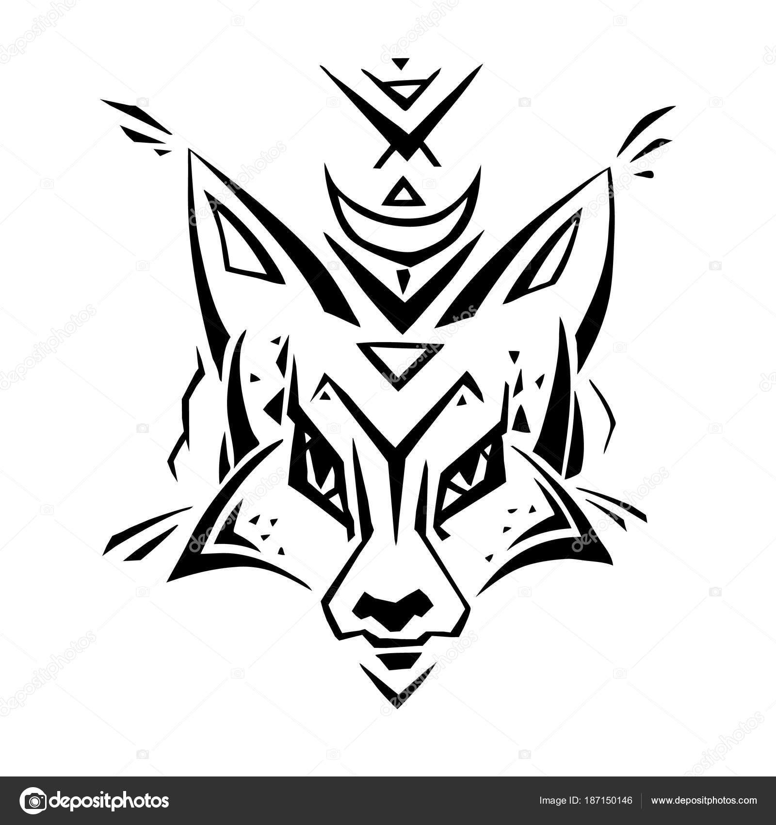 Tribal Wzór Fox Polinezyjski Tatuaż Styl Grafika