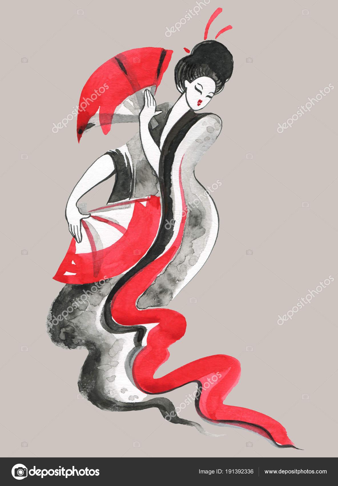Гейша. Женщина в традиционной одежде. Японский стиль ...  Японский Стиль в Одежде