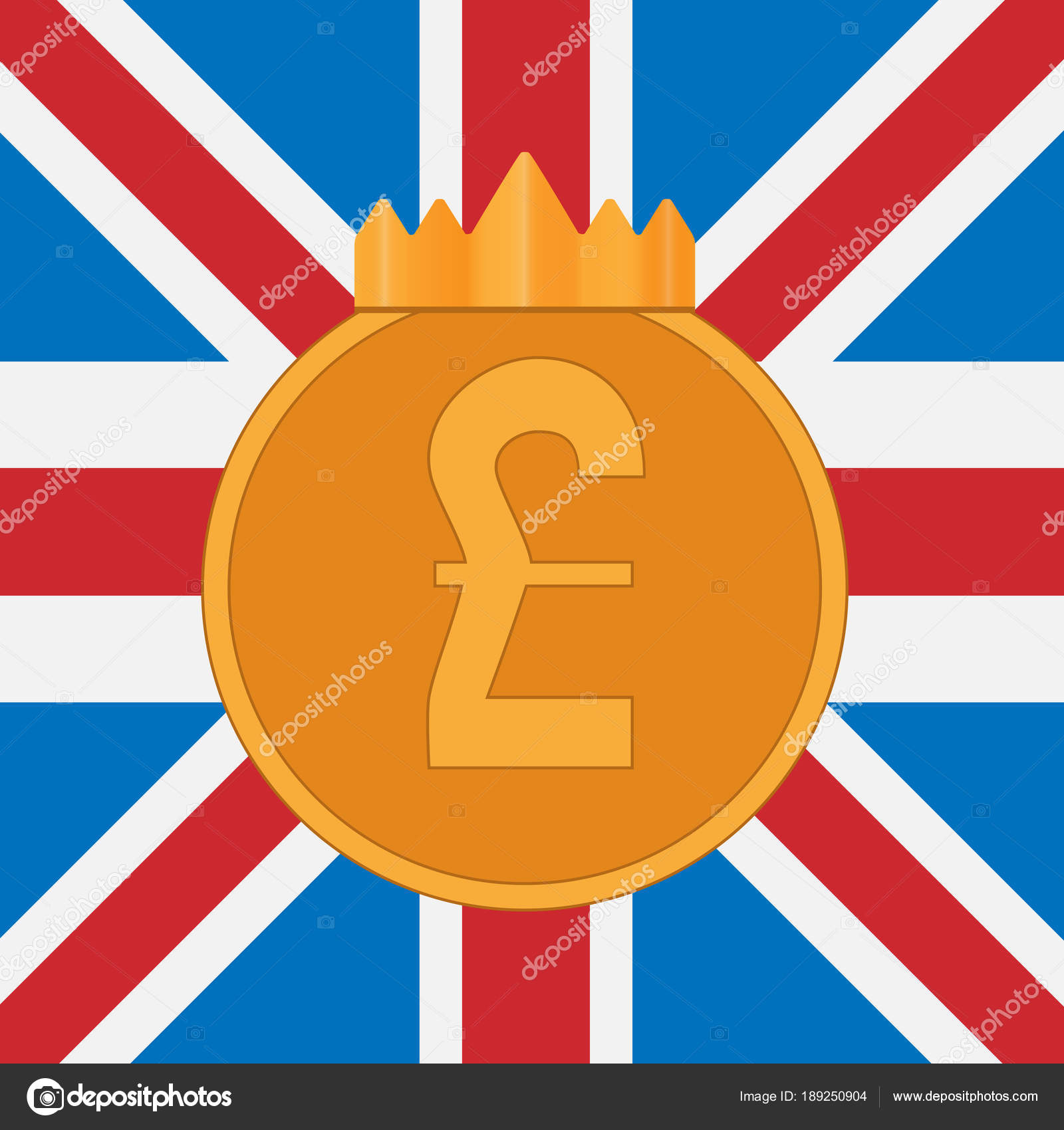Pound Sterling Symbol On Background Of Great Britain Flag Stock