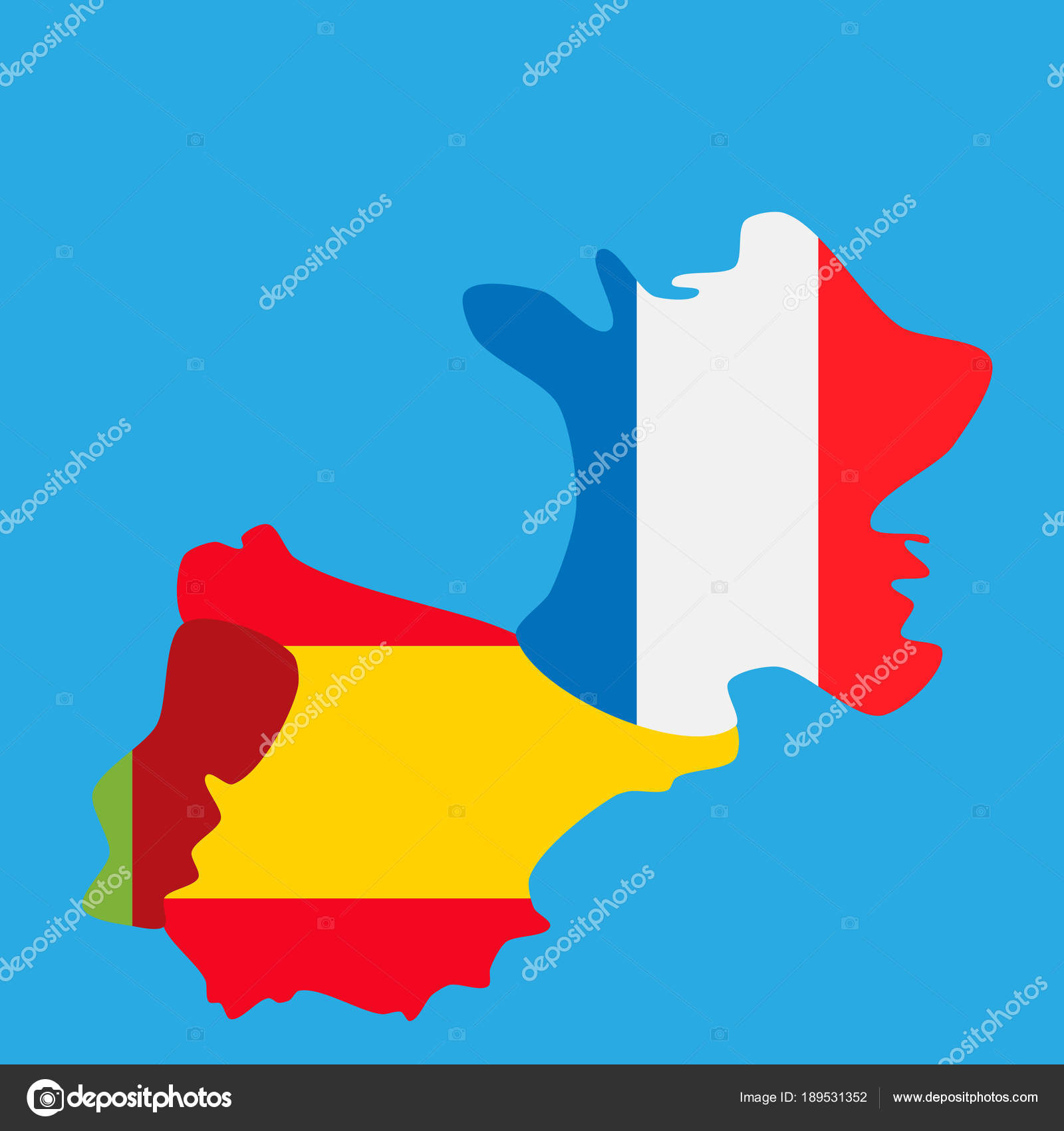 Map Of Portugal Spain France.Map Of Portugal Spain And France With National Flags Stock Vector