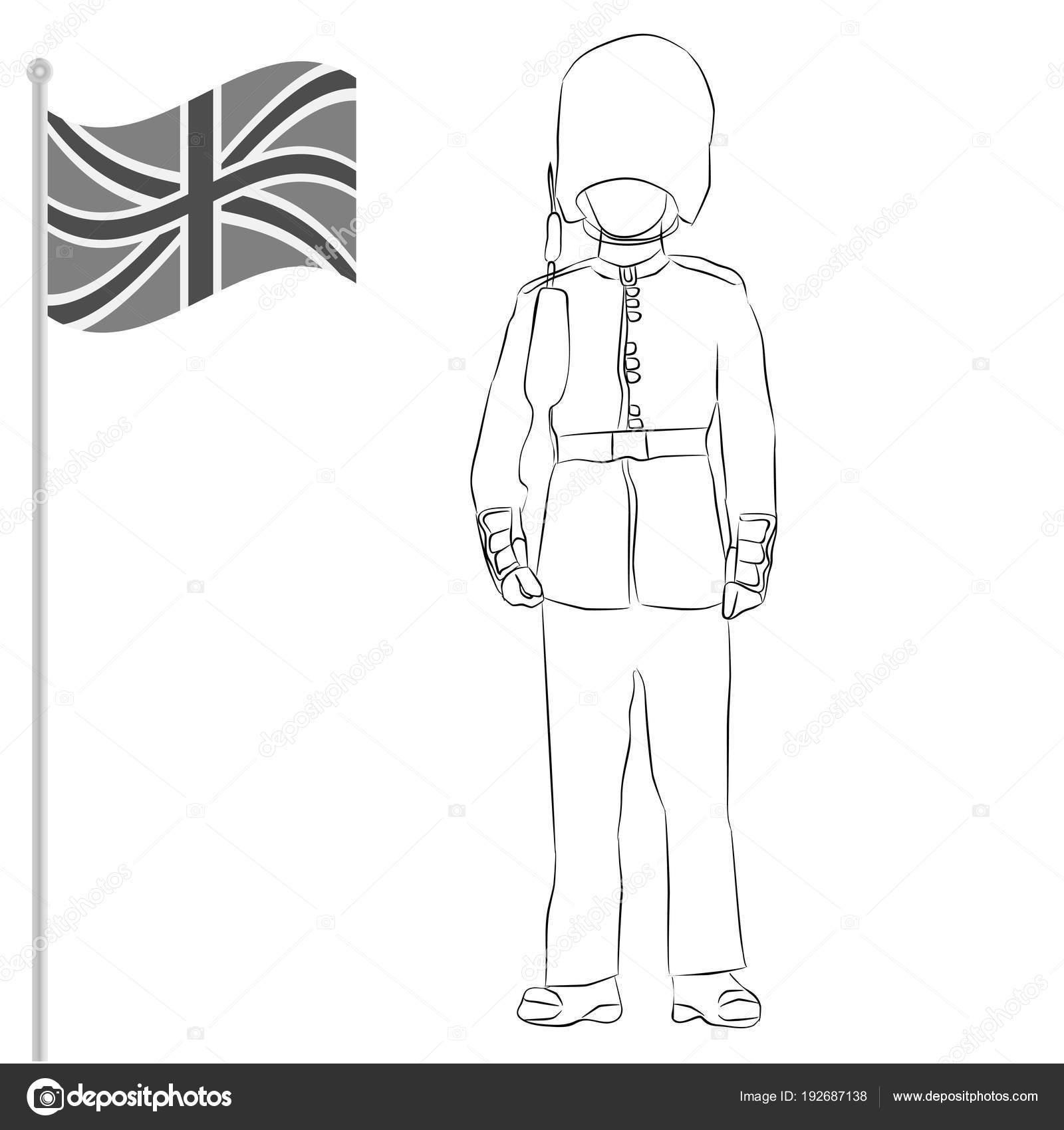 Guardia Real británica con la bandera de la Unión Unido — Archivo ...